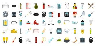 Ensemble d'icône d'équipement de sport, style plat Photos stock