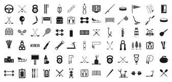 Ensemble d'icône d'équipement de sport, style simple Photos stock