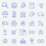Ensemble d'icône d'achats de lundi de Cyber illustration libre de droits