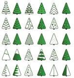 Ensemble d'icône d'arbre de Noël Photos stock