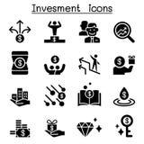 Ensemble d'icône d'argent et d'investissement Photo libre de droits