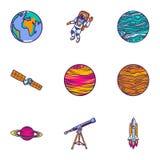 Ensemble d'icône d'astronomie d'espace, style tiré par la main illustration stock