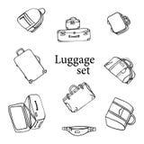 Ensemble d'icône de bagage Sac à dos, sac à main, valise, serviette, sac de messager, chariot, sac de voyage illustration de lin  Photographie stock libre de droits