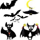 Ensemble d'icône de batte de noir de Halloween Silhouettes de battes Symbole de Veille de la toussaint illustration stock