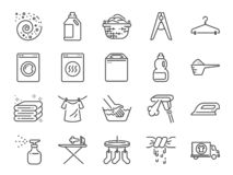 Ensemble d'icône de blanchisserie A inclus les icônes comme détergent, machine à laver, frais, propre, fer et plus illustration stock