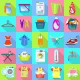 Ensemble d'icône de blanchisserie, style plat illustration libre de droits