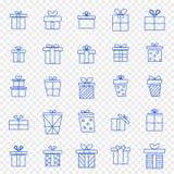 Ensemble d'icône de boîte-cadeau de Noël 25 icônes de vecteur emballent illustration stock