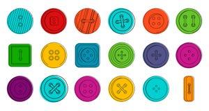 Ensemble d'icône de boutons, style d'ensemble de couleur illustration stock