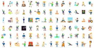 Ensemble d'icône de caractères d'hommes, style de bande dessinée illustration de vecteur