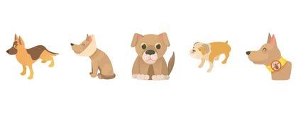 Ensemble d'icône de chien, style de bande dessinée illustration stock