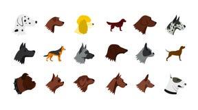 Ensemble d'icône de chien, style plat illustration stock
