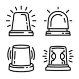 Ensemble d'icône de clignoteur, style d'ensemble illustration stock