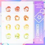 Ensemble d'icône de commerce électronique sur le style négatif pour le symbole de achat Le paquet en ligne d'icône du marché peut illustration libre de droits