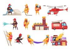 Ensemble d'icône de corps de sapeurs-pompiers illustration stock