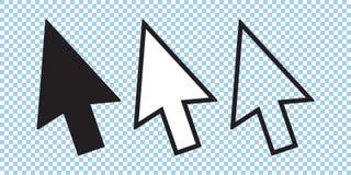 Ensemble d'icône de curseur, flèche de curseur de vecteur, noir et ligne icônes illustration de vecteur
