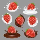 Ensemble d'icône de dessert de fraise de vecteur Images stock