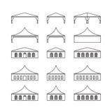 Ensemble d'icône de divers types tente d'événement Tente se pliante, toit de toile, Illustration de Vecteur