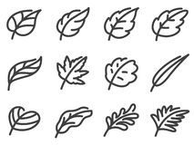 Ensemble d'icône de feuilles Ligne style plate illustration libre de droits