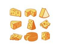 Ensemble d'icône de fromage photos stock
