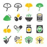 Ensemble d'icône de Ginkgo illustration de vecteur