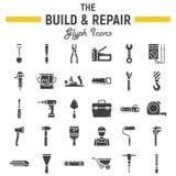 Ensemble d'icône de glyph construisez et de réparation, signe de construction illustration stock