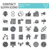Ensemble d'icône de glyph de contact, symboles collection, croquis de vecteur, illustrations de logo, signes de communication de  illustration stock