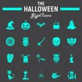 Ensemble d'icône de glyph de Halloween, collection effrayante de symboles illustration stock