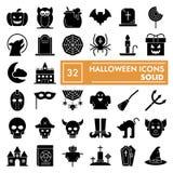Ensemble d'icône de glyph de Halloween, symboles collection, croquis de vecteur, illustrations de logo, pictogrammes solides de  illustration de vecteur