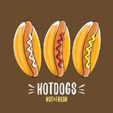 Ensemble d'icône de hot dogs de bande dessinée de vecteur d'isolement sur le fond brun Conception d'affiche ou de label de hot-do Photo stock