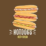 Ensemble d'icône de hot dogs de bande dessinée de vecteur d'isolement sur le fond brun Conception d'affiche ou de label de hot-do Photos libres de droits