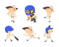 Ensemble d'icône de joueur de baseball, style de bande dessinée Photographie stock