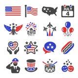 Ensemble d'icône de Jour de la Déclaration d'Indépendance de l'Amérique illustration stock