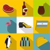 Ensemble d'icône de l'Argentine d'attraction, style plat Photos libres de droits