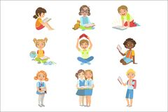 Ensemble d'icône de livres de lecture d'enfants illustration libre de droits