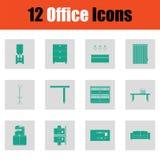 Ensemble d'icône de meubles de bureau illustration stock
