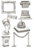 Ensemble d'icône de musée, illustration tirée par la main d'encre de vecteur illustration stock