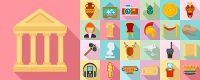 Ensemble d'icône de musée, style plat illustration de vecteur