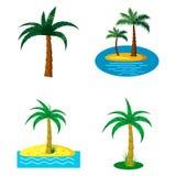 Ensemble d'icône de palmier, style de bande dessinée Photographie stock libre de droits