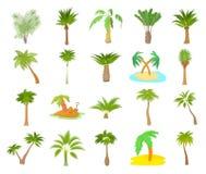 Ensemble d'icône de palmier, style de bande dessinée Photo libre de droits
