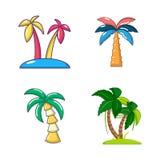 Ensemble d'icône de palmier, style de bande dessinée Image libre de droits
