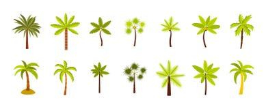 Ensemble d'icône de palmier, style plat Photographie stock