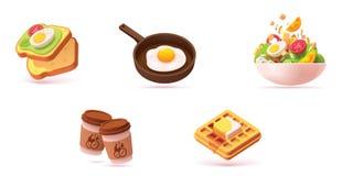 Ensemble d'icône de petit déjeuner de vecteur illustration libre de droits