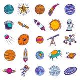 Ensemble d'icône de planètes de l'espace, style tiré par la main illustration libre de droits
