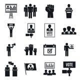 Ensemble d'icône de réunion politique, style simple illustration de vecteur