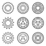 Ensemble d'icône de roue de pignon avec différent nombre de dents Ligne mince vecteur illustration libre de droits