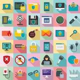 Ensemble d'icône de sécurité de Cyber, style plat photo libre de droits