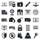Ensemble d'icône de sécurité de réseau, style simple photos stock