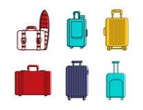 Ensemble d'icône de sac de voyage, style d'ensemble de couleur Photographie stock libre de droits