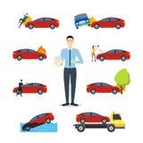 Ensemble d'icône de signes d'assurance auto de bande dessinée Vecteur illustration stock