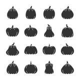 Ensemble d'icône de silhouette de noir de potiron de Halloween illustration de vecteur